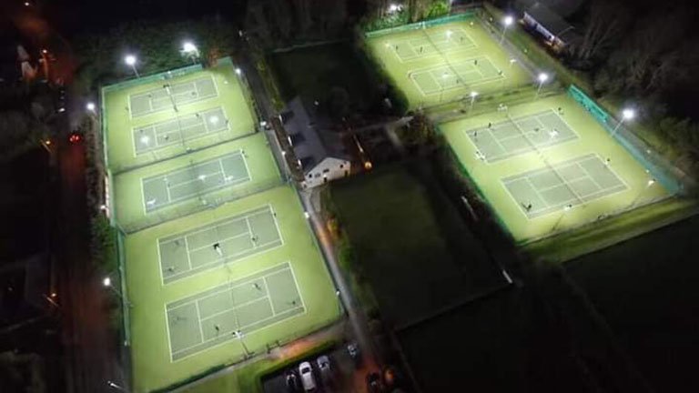 The courts at night